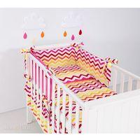 Zabezpieczenia do łóżeczek, MAMO-TATO Ochraniacz rozbieralny do łóżeczka 60x120 Zygzak żółto-czerwony / ciemny róż