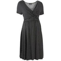 Sukienka ciążowa i do karmienia, shirtowa, krótki rękaw bonprix czarno-biały w kropki
