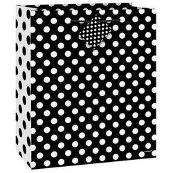 Torebka prezentowa czarna w białe kropeczki 18x23 cm - 1 szt.