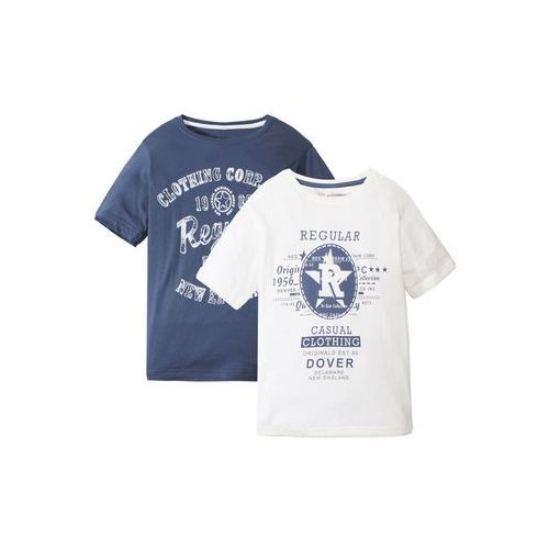 Koszulki z krótkim rękawkiem dziecięce, T-shirt chłopięcy (2 szt.) bonprix indygo + biel wełny