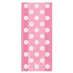 Torebki prezentowe różowe w białe kropki - 28,5 x 12,5 cm - 20 szt.