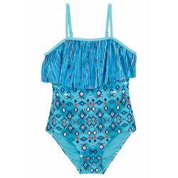 Kostium kąpielowy dziewczęcy bonprix niebieski wzorzysty