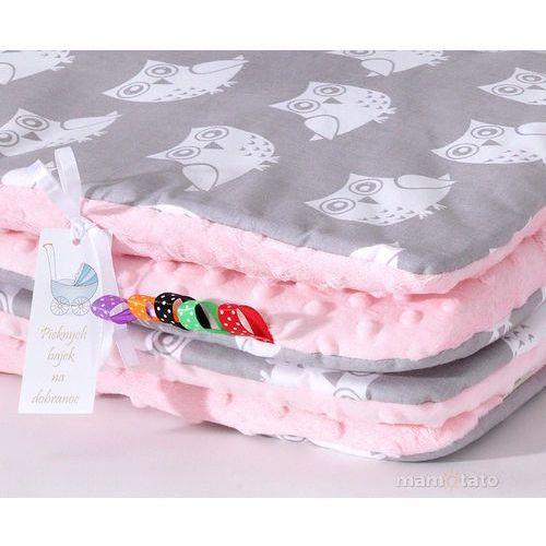 Pościel, MAMO-TATO Zabawka Pościel minky dla lalek Sowa szara / jasny róż