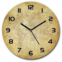 Zegar szklany na ścianę Stara mapa świata