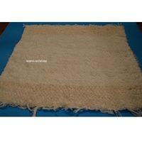 Wycieraczki, Chodnik bawełniany (wycieraczka) ręcznie tkany ecru, brzegi ciemniejsze 65x50