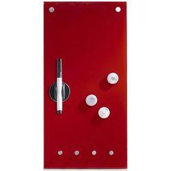Szklana tablica MEMO na notatki, czerwona + 3 magnesy i 4 haczyki, 40x20 cm, ZELLER