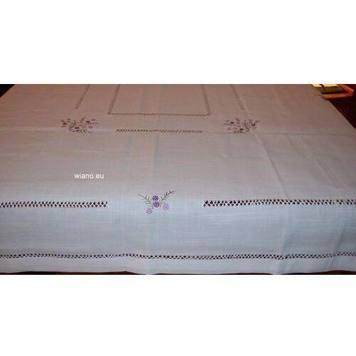 Obrusy, Obrus lniany, biały, fabryczny haft 176x135