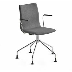 Krzesło konferencyjne OTTAWA, nogi pająka, podłokietniki, szara tkanina, chrom