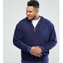 ASOS PLUS Oversized Hoodie In Striped Velour With Half Zip - Navy