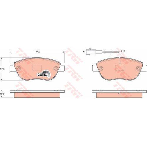 Klocki hamulcowe, KLOCKI HAM TRW GDB1655 FIAT DOBLO 1.3D MULTIJET, 1.4 05-, GRANDE PUNTO 1.4T-JET 07-