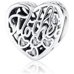 Rodowany srebrny charms pandora serce dla mamy cyrkonie srebro 925 BEAD11