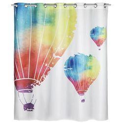 Antybakteryjna, poliestrowa zasłonka prysznicowa Air Comfort Flex, 180x200 cm, z nadrukiem balonów, możliwość prania, marka WENKO