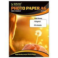 Papiery i folie do drukarek, SAVIO PA-03 A6 150g/m2 50 szt. błysk