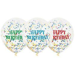 Balony przezroczyste z nadrukiem oraz konfetti w środku - 30 cm - 6 szt.
