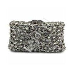 Mała śliczna torebka wieczorowa, ślubna, osadzane ręcznie kryształkami nr 1