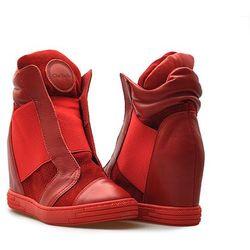 Sneakersy Chebello 528/D Czerwone lico + welur