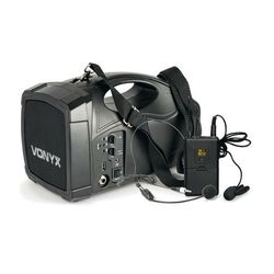 Vonyx ST012 Przenośny radiowy system nagłośnieniowy mikrofon krawatowy SMT USB BT MP3 akumulator 12 V DC