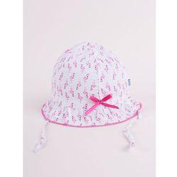 Czapka letnia kapelusz ciemnoróżowy ze wstążką we flamingi 46-48
