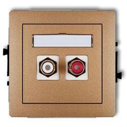 Gniazdo podwójne RCA (cinch - biały i czerwony, pozłacany) 8DGRCA-2, złoto KARLIK DECO