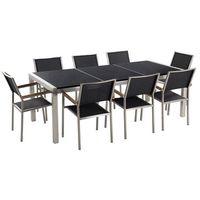 Zestawy ogrodowe, Meble ogrodowe - stół granitowy czarny polerowany 220 cm z 8 czarnymi krzesłami - GROSSETO