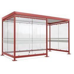 Zadaszenie z dachem stalowym,10 elementów szyb, 1/2 otwarta