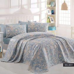SELSEY Narzuta Andriel 200x235 cm bawełniana niebieska z beżowymi wzorami