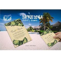 Zaproszenia ślubne z drewna - tropikalne - cyfrowy druk UV - ZAP043