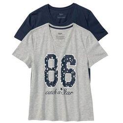 Koszulka do spania (2 szt.) bonprix jasnoszary melanż z nadrukiem + ciemnoniebieski