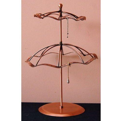 Artykuły do ekspozycji w sklepie, Stojak obrotowy do kolczyków w kształcie dwupoziomowej parasolki, duży - miedziany