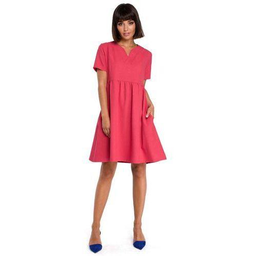 Suknie i sukienki, Różowa Rozkloszowana Sukienka Mini Odcinana pod Biustem