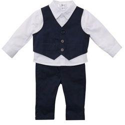Koszula niemowlęca + kamizelka + spodnie (3 części) bonprix biało-ciemnoniebieski