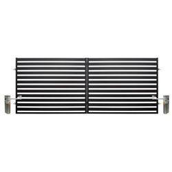 Brama dwuskrzydłowa z automatem Polbram Steel Group Lara 2 4 x 1 54 m czarna