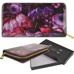 Lakierowany portfel damski fioletowy kwiatowy wzór PURPLE - fioletowy   różowy   czarny