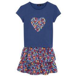 Shirt dziewczęcy + spódnica (2 części) bonprix kobaltowy