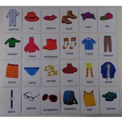Ubrania / akcesoria karty edukacyjne - wersja w j. angielskim