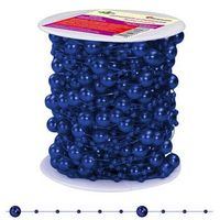 Pozostałe artykuły szkolne, Girlanda perłowa sznurek z perełkami granatowy 20m - granatowy / perłowy