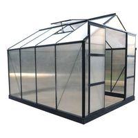 Szklarnie, Szklarnia ogrodowa z poliwęglanu 7.5 m² GREENEA II z podstawą - Antracyt