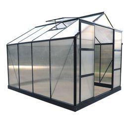 Szklarnia ogrodowa z poliwęglanu 7.5 m² GREENEA II z podstawą - Antracyt