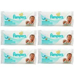 Zestaw 6 x PAMPERS 56szt Sensitive Chusteczki nawilżane dla dzieci i niemowląt