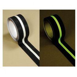 Taśmy antypoślizgowe fotoluminescencyjne - 50 mm x 18,3 m, czarny z białym paskiem