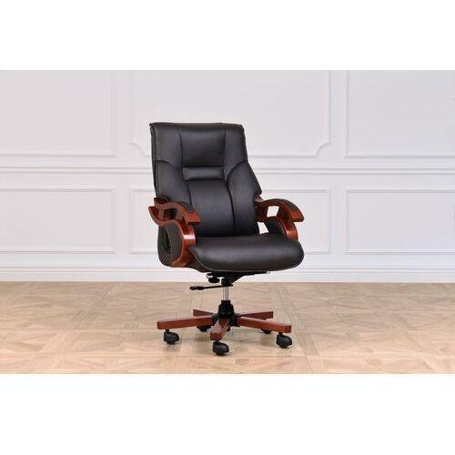 Fotele i krzesła biurowe, Fotel skórzany MANAGER czarny
