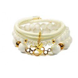Bransoletki białe kamienie i rzemień, Złoty Koliber