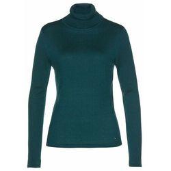 Sweter z golfem, z kaszmirem bonprix głęboki zielony