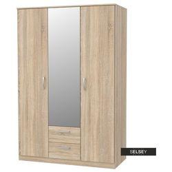 SELSEY Szafa trzydrzwiowa Mercurum z dwiema szufladami i lustrem na froncie