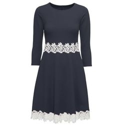 Sukienka z koronkową aplikacją bonprix ciemnoniebieski