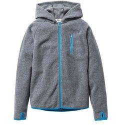 Bluza chłopięca z polaru z kontrastowymi elementami bonprix szary melanż - turkusowy