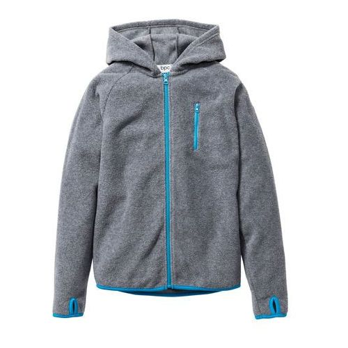Bluzy dla dzieci, Bluza chłopięca z polaru z kontrastowymi elementami bonprix szary melanż - turkusowy