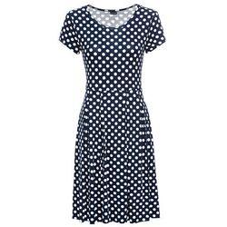 Sukienka z dżerseju bonprix ciemnoniebiesko-biel wełny w kropki
