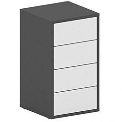 Biurowy kontener szufladowy FUTURE, 710 x 400 x 400 mm, biały/grafitowy