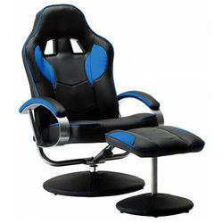 Czarno-niebieski fotel obrotowy z podnóżkiem - Endy